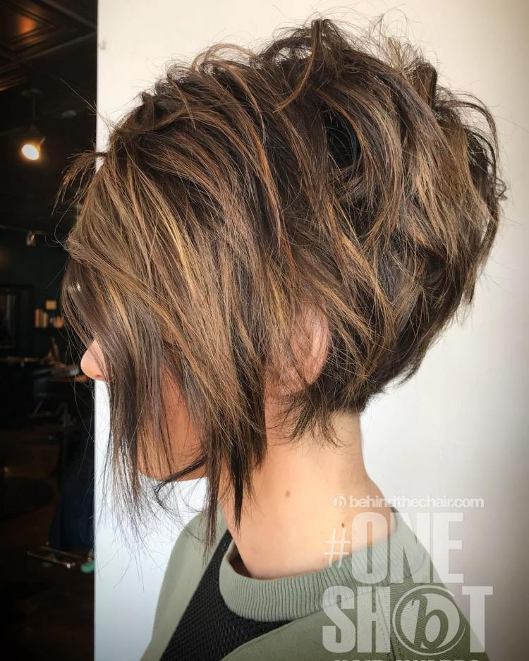 Messy Brunette Pixie Bob With Highlights