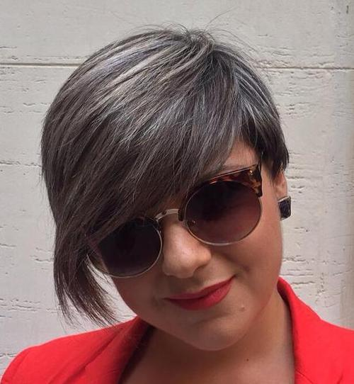 short haircut with long bangs and gray babylights