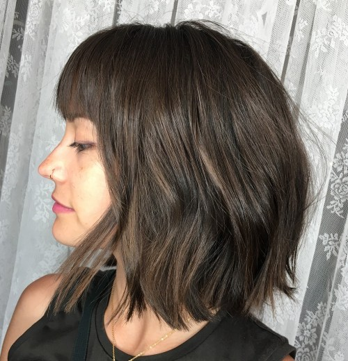 60 most beneficial haircuts for thick hair of any length bob haircut with straight bangs solutioingenieria Images