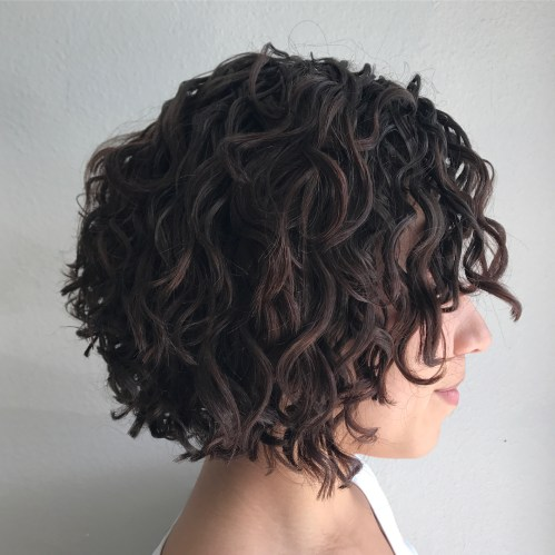 Curly Brunette Bob