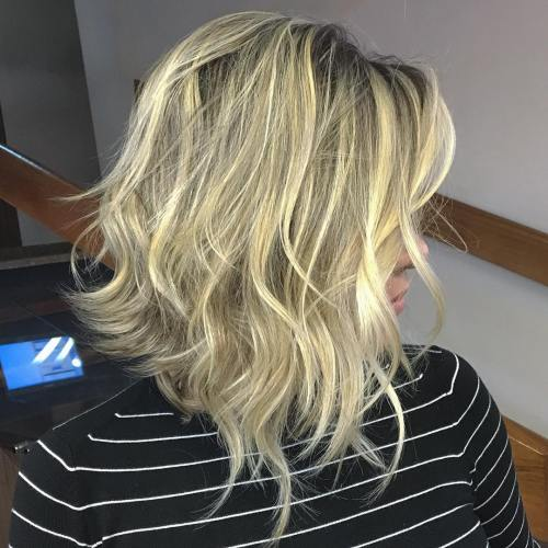 Long Layered Bob With Black Roots