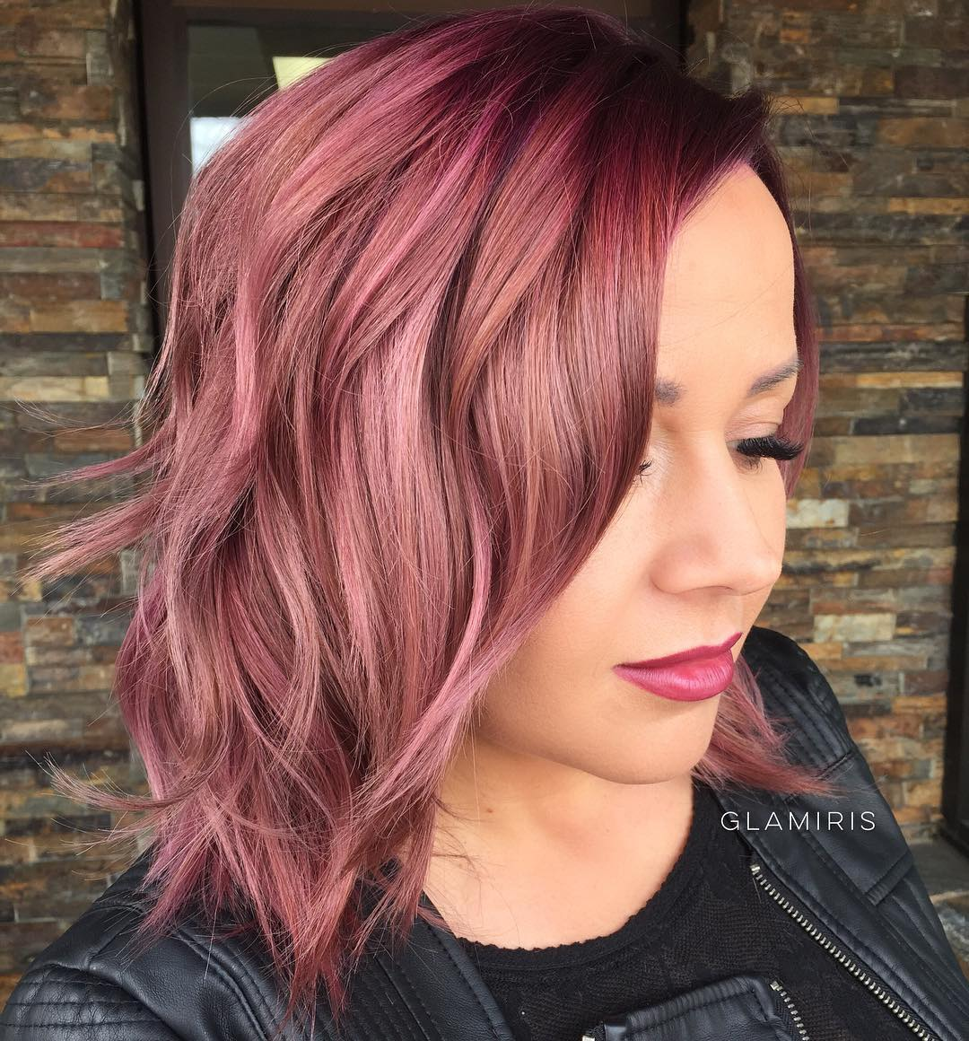 Pastel Burgundy Shoulder Length Shag