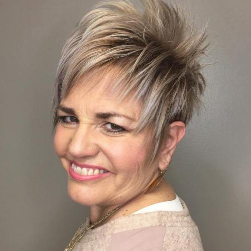Layered Bronde Pixie For Older Women