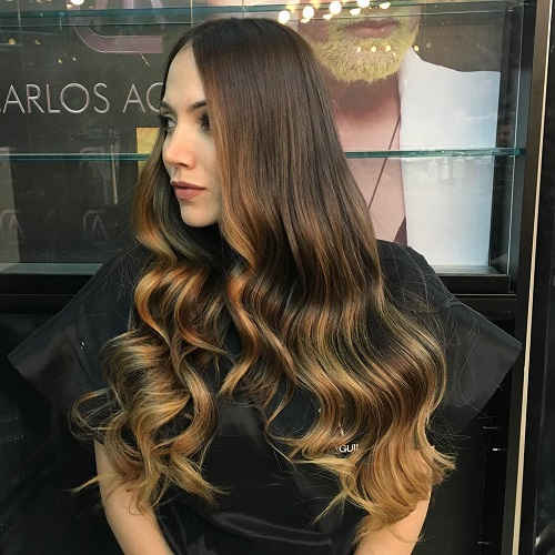 Long Golden Brown Ombre Hair