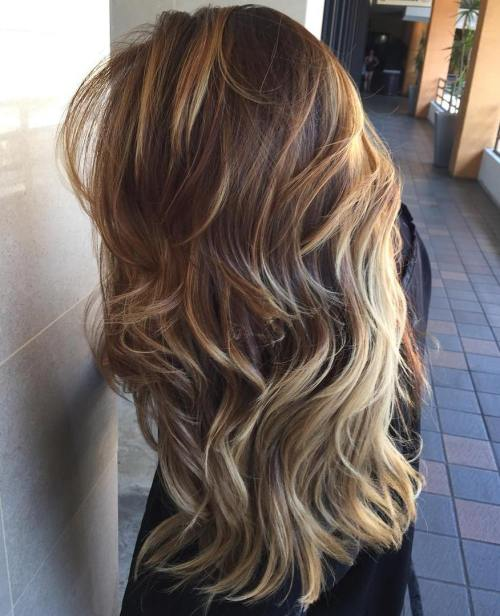 Long Layered Brown Ombre Hair