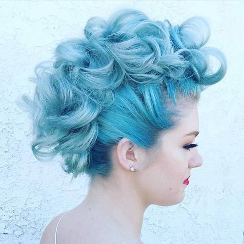 pastel blue curly mohawk updo