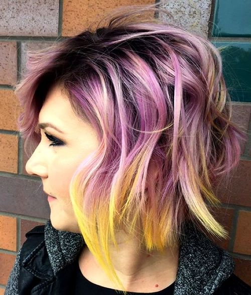 shaggy pastel purple bob with yellow ends