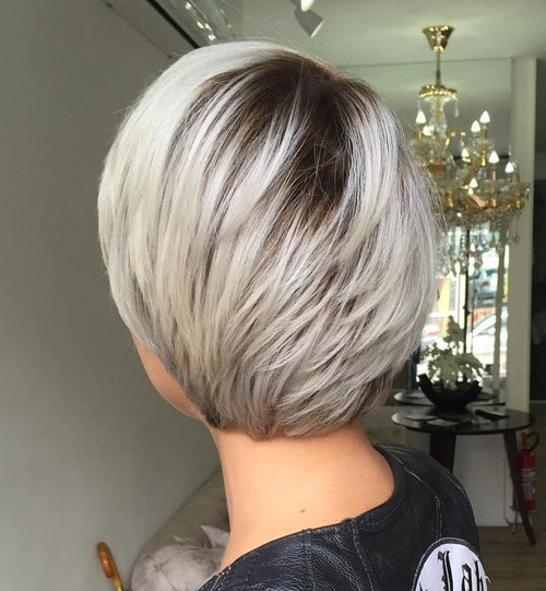 Superior Short Layered Platinum Haircut