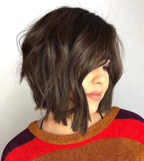 Choppy Angled Brunette Bob