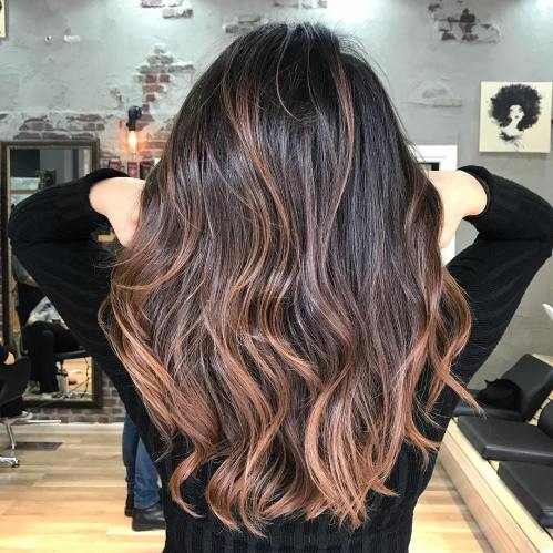 Long Wavy Black Hair With Caramel Balayage