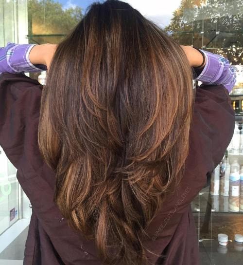 Long Layered Hairstyle With Caramel Highlights