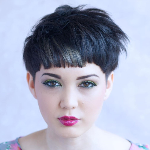 Asian pixie cut round face