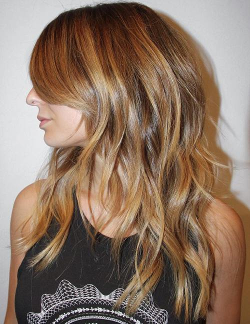 Long Layered Golden Blonde Hairstyle