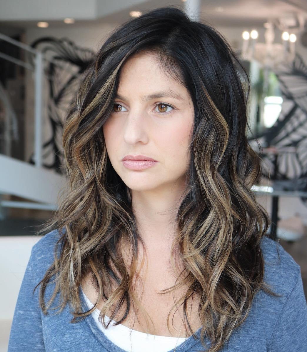 Beautiful Long Wavy Brunette Balayage Style