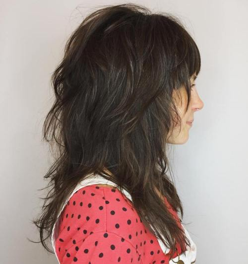 50 lovely long shag haircuts for effortless stylish looks mid length layered cut with bangs urmus Choice Image