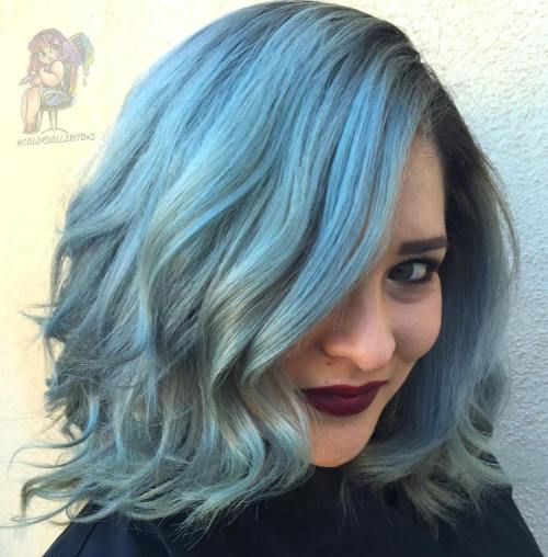Pastel Blue Shaggy Wavy Bob