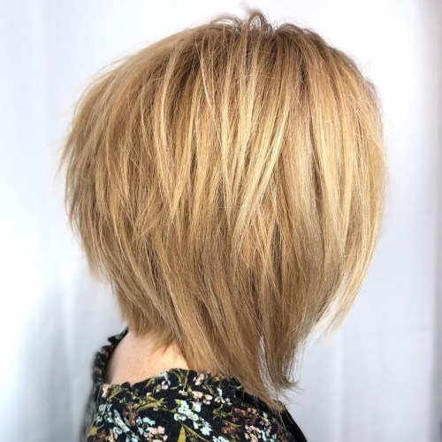 Choppy Caramel Blonde Bob