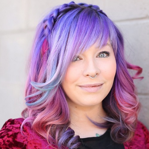 Pastel Purple Balayage Hair With Layered Bangs