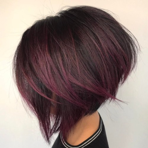 Plum Red Balayage For Stacked Bob