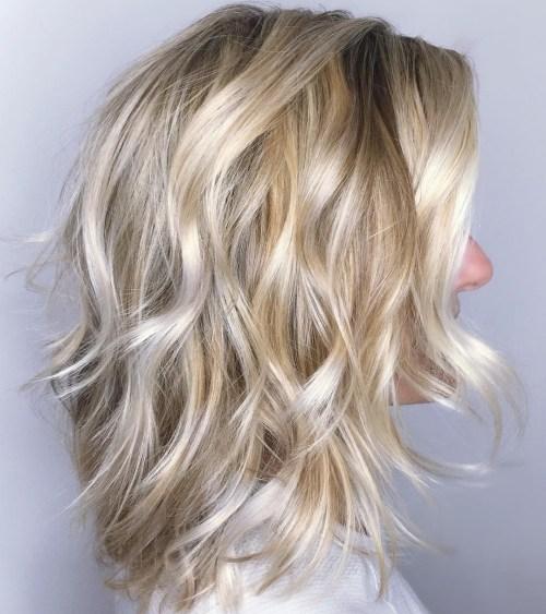 Sexy White Blonde Lob Shag