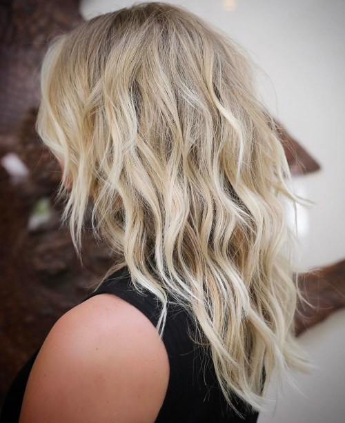 Wavy Blonde Layered Hairstyle