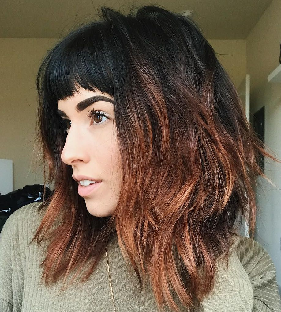 Black And Copper Shag With Bangs