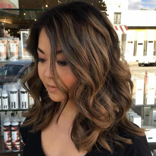 30 stunning medium hairstyles for round faces brown balayage for black hair winobraniefo Choice Image