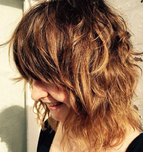 medium shaggy haircut with bangs