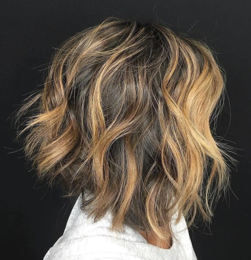 Choppy Brown Bob With Chunky Highlights``
