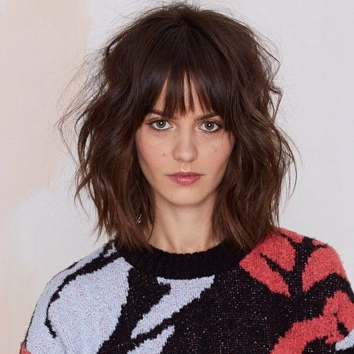long shaggy brunette bob with bangs