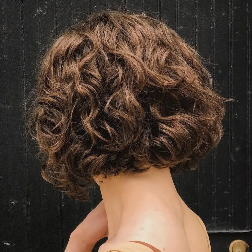 Brown Short Curly Bob Hairstyle