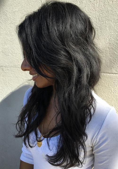styles for long black hair 50 lovely shag haircuts for effortless stylish looks 1775 | 7 layered haircut for long black hair