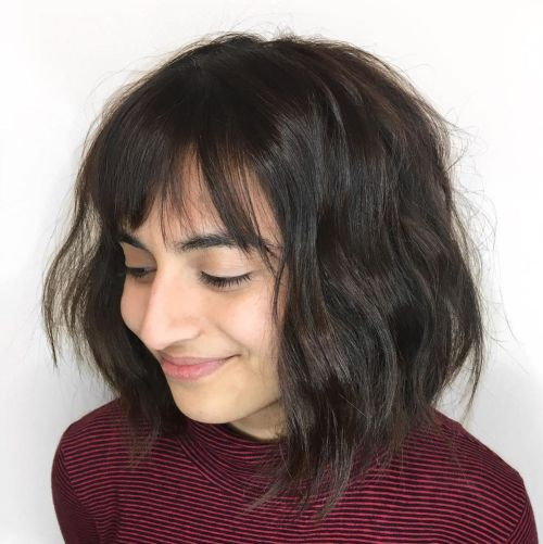 Messy Brown Bob With A Fringe