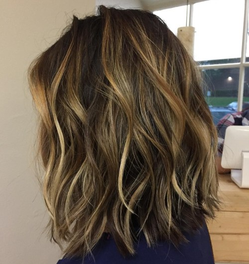 Sliced Lob With Subtle Golden Blonde Balayage