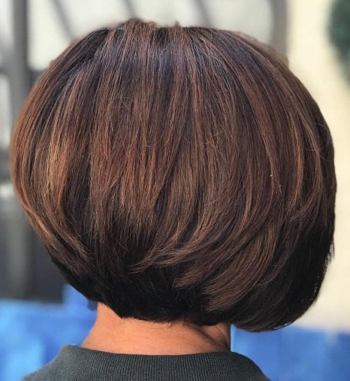 Stacked Brunette Balayage Bob