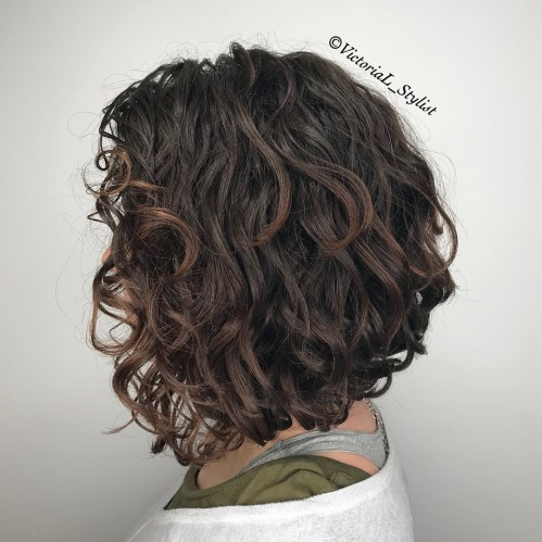 Angled Curly Black Bob With Chocolate Highlights
