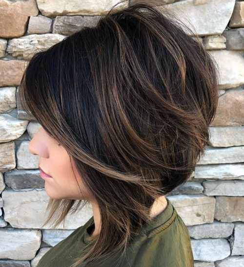 Black Bob With Subtle Brown Balayage