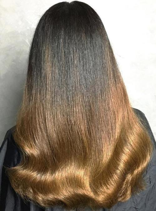 Black To Golden Brown Ombre