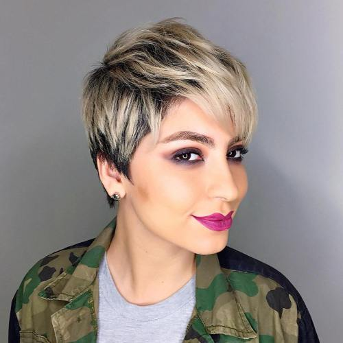 Blonde Balayage Pixie With Black Roots