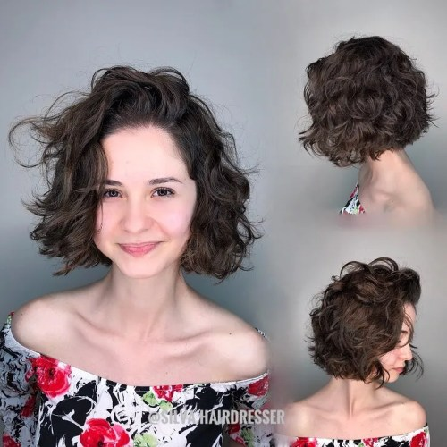 Messy Curly Combover Bob Hairstyle