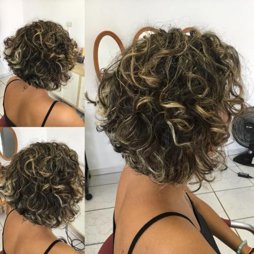 Voluminous Curly Bob With Highlights