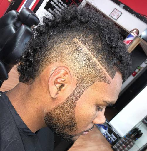 curly mohawk with buzzed sides