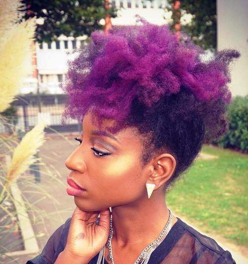 natural hair purple mohawk updo