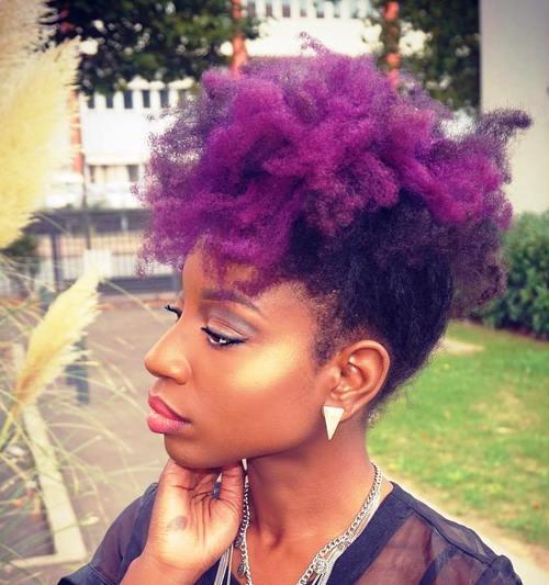 natural hair purple mohawk updo