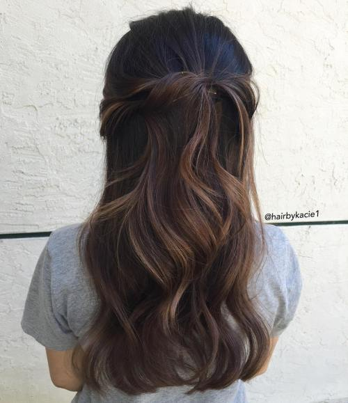 Wavy Half Up Half Down Hairstyle