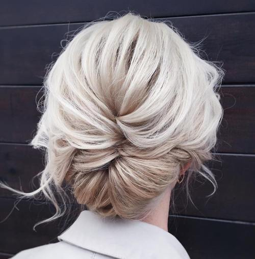 Messy Low Updo with a Braid