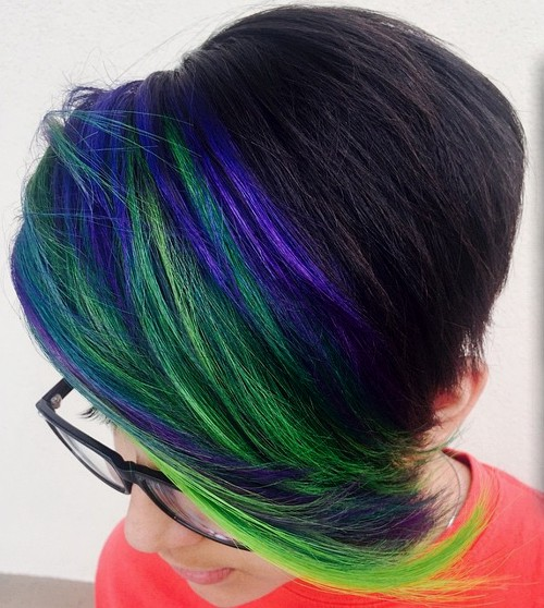 pixie with blue and green bangs