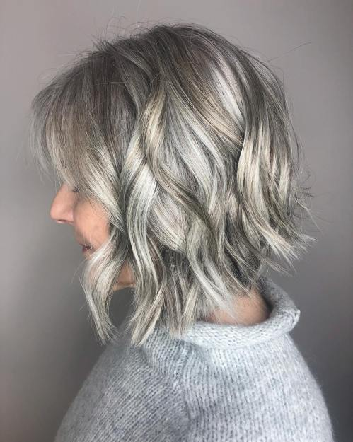 Layered Wavy Bob Over 40