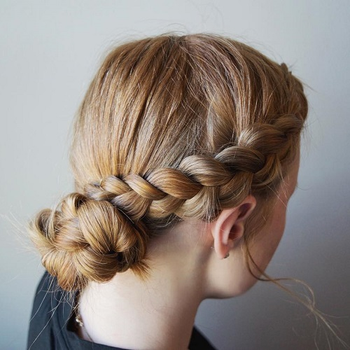 Side Braid Into Bun Casual Updo