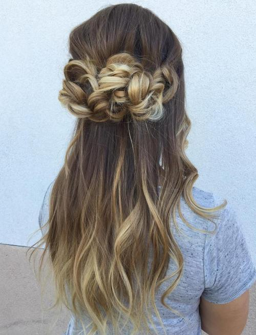 Braided Half Up Hald Down Hairstyle